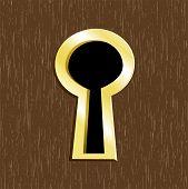 Door Keyhole Of Golden Metal