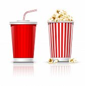 full glass with drink and popcorn