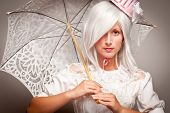 Pretty White Haired Woman With Parasol