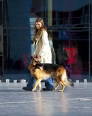 pic of german shepherd dogs  - Picture of a woman and her dog  - JPG