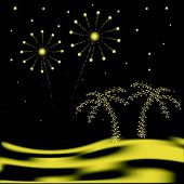 Desert New Year with fireworks