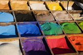 Multicolored Sand In The Boxes