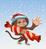 Постер, плакат: Monkey symbol 2016 Monkey has great candy Monkey in Santa hats Greeting