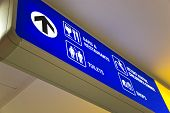 Detailed view of blue airport sign
