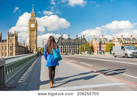 poster of London city urban lifestyle tourist woman walking. Businesswoman commuting going to work on Westmins