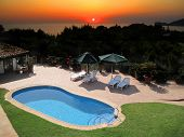 Villa With Outdoor Swimming Pool and sunset
