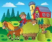 Country scene with red barn 9 - vector illustration.