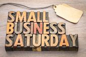 Small Business Saturday word abstract - text in vintage letterpress wood type with a blank price tag poster