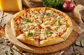 Pizza Restaurant Menu - Delicious Fresh Pizza with Chicken and Pineapple. Pizza on Rustic Wooden Tab poster
