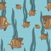seamless pattern brown fish