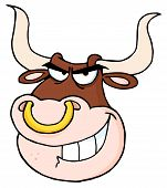 picture of nose ring  - Bull Face With Nose Ring Cartoon Character - JPG