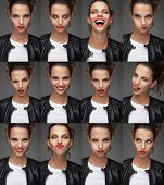 collage of beautiful womans faces with different moods , studio portraits poster
