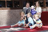 LOS ANGELES - JUL 29:  Mark Wahlberg, wife Rhea Durham and children at a ceremony where he receives a star on the Hollywood Walk of Fame on July 29, 2010 in Los Angeles, California.