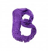 Knitting alphabet. Letter of knit handmade alphabet on white background. Letter B of knit handmade a poster