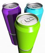 Three Colorful Drink Cans
