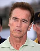 MALIBU - MAY 5: Arnold Schwarzenegger makes a statement because of a wildfire in Malibu on November