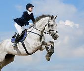 pic of dapple-grey  - Young girl jumping with dapple - JPG