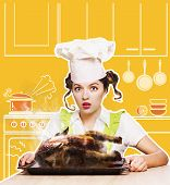 Chef Woman Overlooked Roast Chicken In The Oven. poster