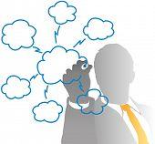 Постер, плакат: Бизнес менеджер Рисование облачных вычислений диаграммы из за матовое стекло