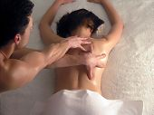 picture of partially nude  - Massaging Back alternative medicine human skin pressure - JPG