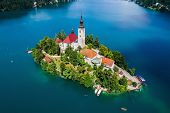 Slovenia - Aerial view resort Lake Bled. Aerial FPV drone photography. poster