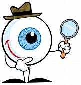 Постер, плакат: Синий глазного яблока персонаж детектив Холдинг увеличительное стекло