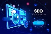 Seo Optimization Banner, Marketing Business Technology, Monitor With Data Analysis Platform On Scree poster