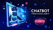 Chatbot Technology Service Cartoon Vector Web Banner, Landing Page Template. Artificial Intelligence poster