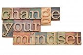 Change your mindset - isolated motivational phrase in vintage letterpress wood type