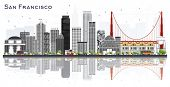 San Francisco USA City Skyline with Gray Buildings Isolated on White. Business Travel and Tourism Co poster