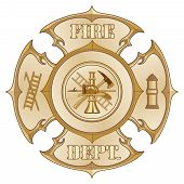 stock photo of maltese-cross  - Illustration of a vintage fire department maltese cross in a gold color with firefighter   inside - JPG