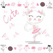 Cute White Cartoon Cat In Ballet Tutu, Kitty Girl In A Pink Skirt, Lettering Cute. Sweet Card poster
