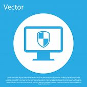 Blue Computer Monitor And Shield Icon Isolated On Blue Background. Computer Security, Firewall Techn poster