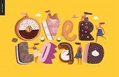 Dessert Lettering - Overload - Modern Flat Vector Concept Digital Illustration Of Temptation Font, S poster