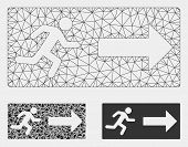 Mesh Emergency Exit Model With Triangle Mosaic Icon. Wire Frame Polygonal Mesh Of Emergency Exit. Ve poster