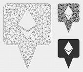 Mesh Ethereum Map Pointer Model With Triangle Mosaic Icon. Wire Frame Polygonal Mesh Of Ethereum Map poster