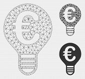 Mesh Euro Bulb Model With Triangle Mosaic Icon. Wire Carcass Polygonal Mesh Of Euro Bulb. Vector Mos poster
