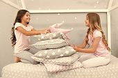 Girls Happy Best Friends In Pajamas With Pillows Sleepover Party. Soulmates Girls Having Fun Sleepov poster