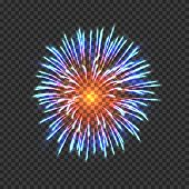 Festive Fireworks With Blue And Orange Sparkles. Realistic Single Firework Bright Flash Isolated On  poster