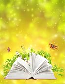 Book of nature on green background