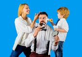 Barbershop. Barber Shop Tools. Hairdresser Making Hairstyle. Beard Care. Woman Hairdresser. Hair Pre poster