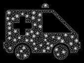 Bright Mesh Emergency Car With Glare Effect. Abstract Illuminated Model Of Emergency Car Icon. Shiny poster