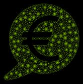 Bright Mesh Euro Message Balloon With Glow Effect. Abstract Illuminated Model Of Euro Message Balloo poster
