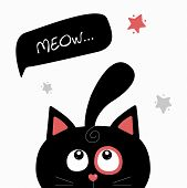 The Cat Peeps And Says meow. Cute Black Cat. poster