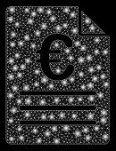 Bright Mesh Euro Document With Glare Effect. Abstract Illuminated Model Of Euro Document Icon. Shiny poster