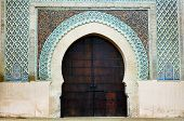 The Bab el-Mansour Gate decorated with impressive zellij (mosaic ceramic tiles), Meknes, Morocco, Africa