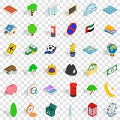 Capital Icons Set. Isometric Style Of 36 Capital Vector Icons For Web For Any Design poster
