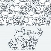 Cute Little Tourist Animals, Cartoon Hand Drawn Vector Seamless Pattern. Cute For Baby Coloring Page poster