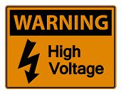 Warning High Voltage Sign Isolate On White Background,vector Illustration poster