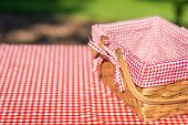 Picnic Basket Checkered With Picnic Tablecloth,picnic Basket Checkered With Picnic Tablecloth poster